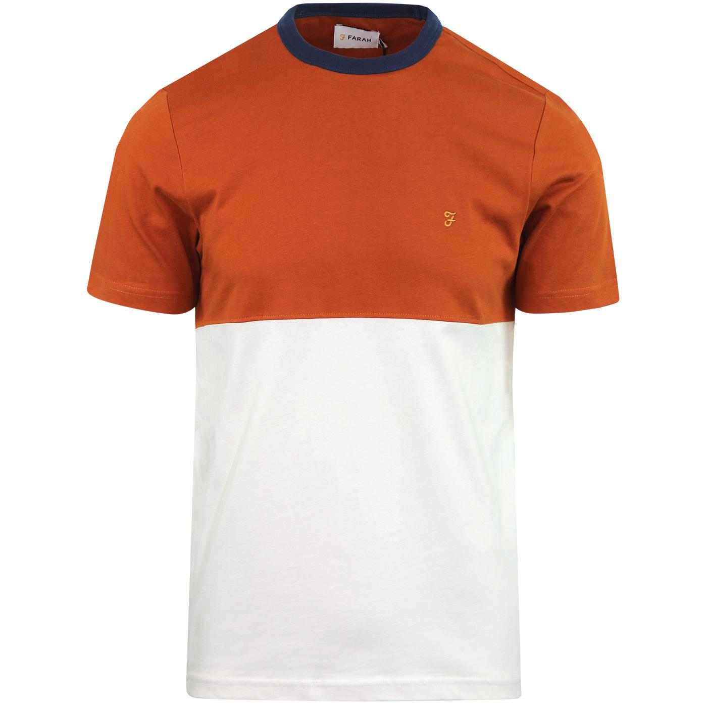 Ewood FARAH Retro 70s Colour Block Tee (Goldfish)