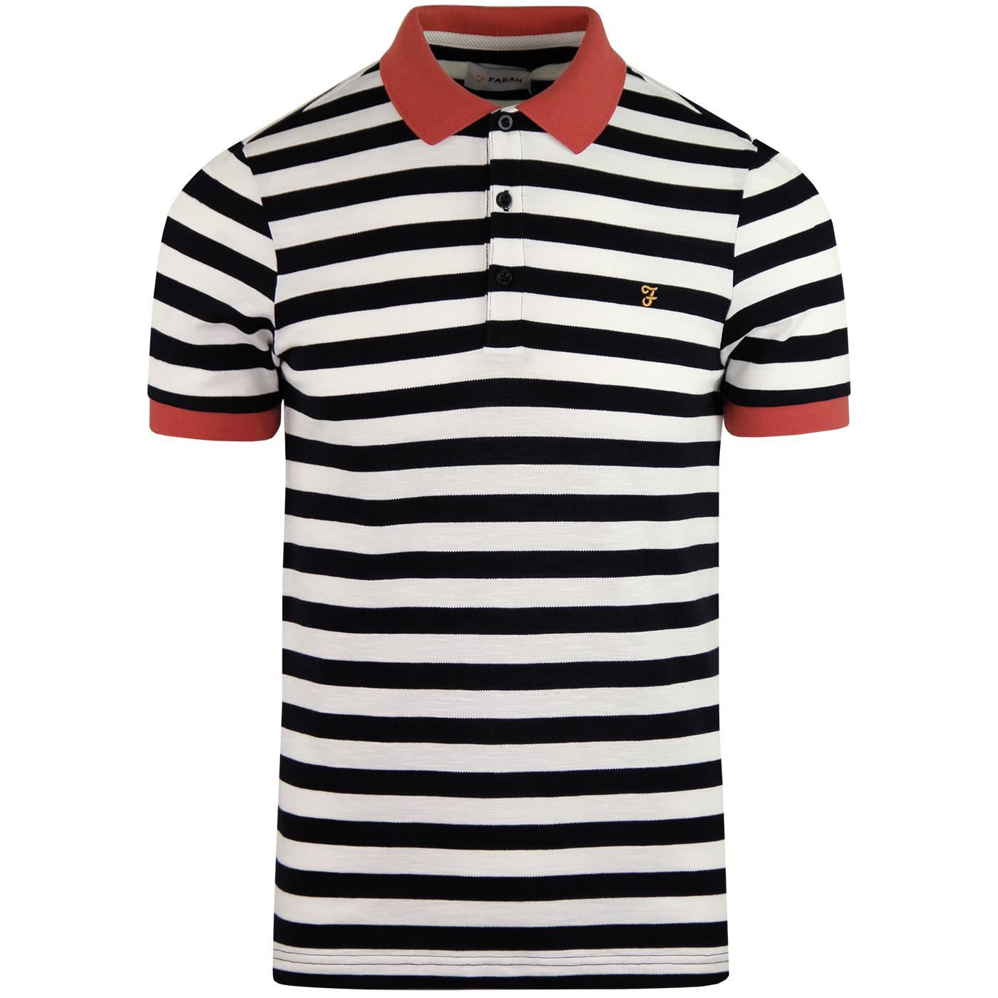 Witton FARAH Retro 60s Mod Pique Striped Polo (TN)
