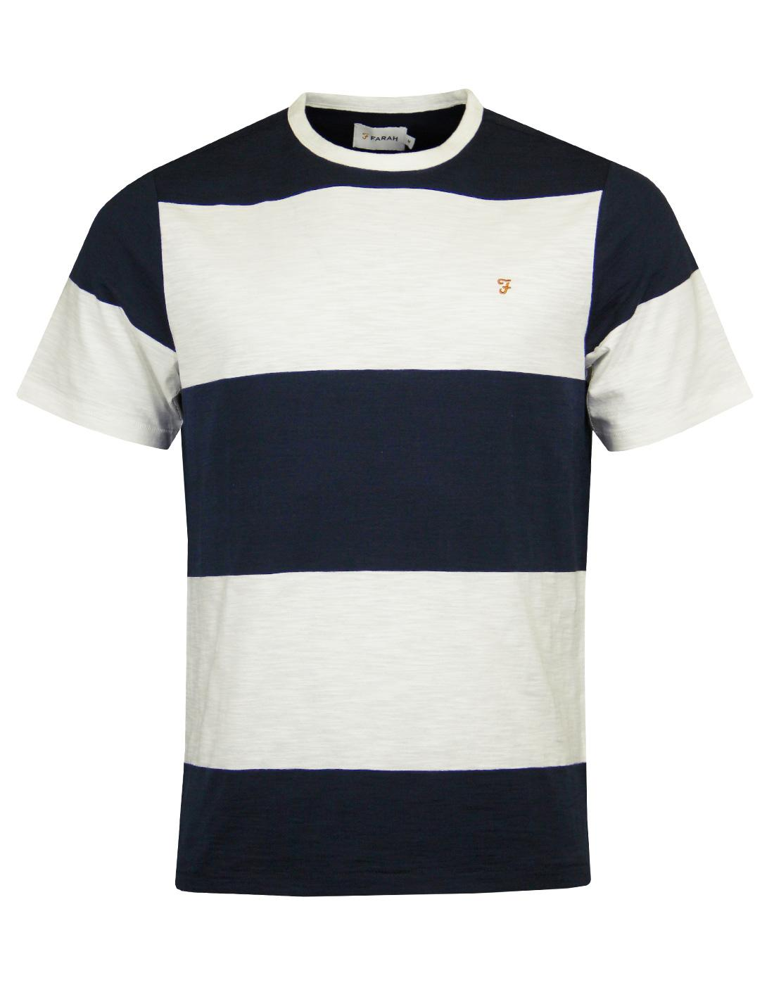 Woolacombe FARAH Retro Mod Block Stripe T-Shirt TN