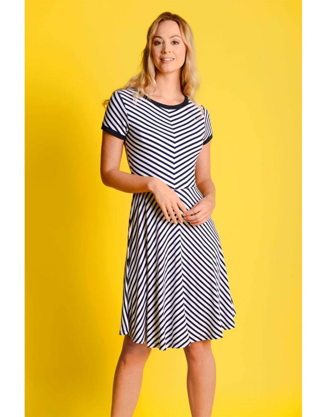 Daria FEVER Retro 60s Striped Flared Summer Dress