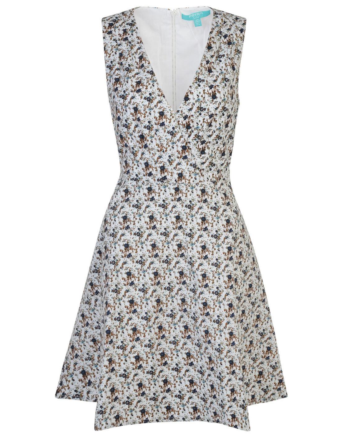 Ditsy Floral FEVER Retro 50s Wrap V-Neckline Dress