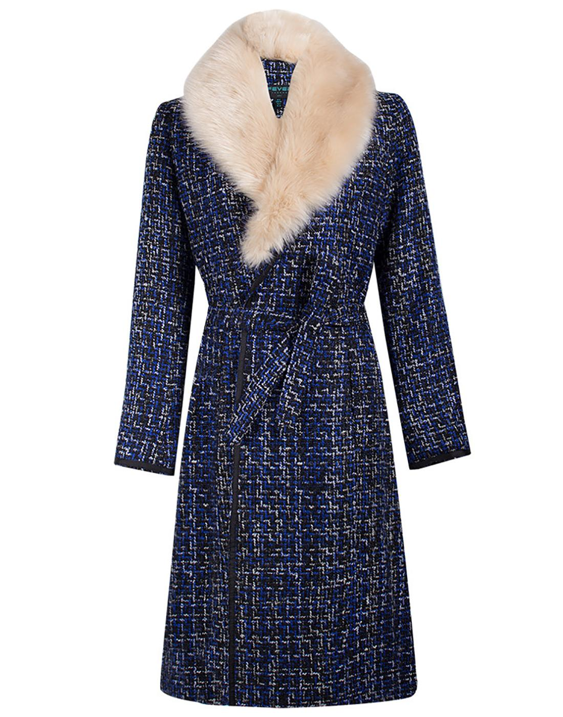 Enid FEVER Retro 70s Vintage Faux Fur Collar Coat