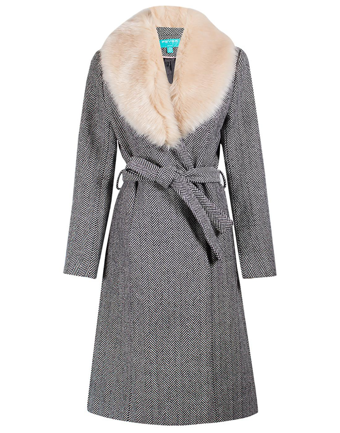 Enid Herringbone FEVER Retro Faux Fur Collar Coat