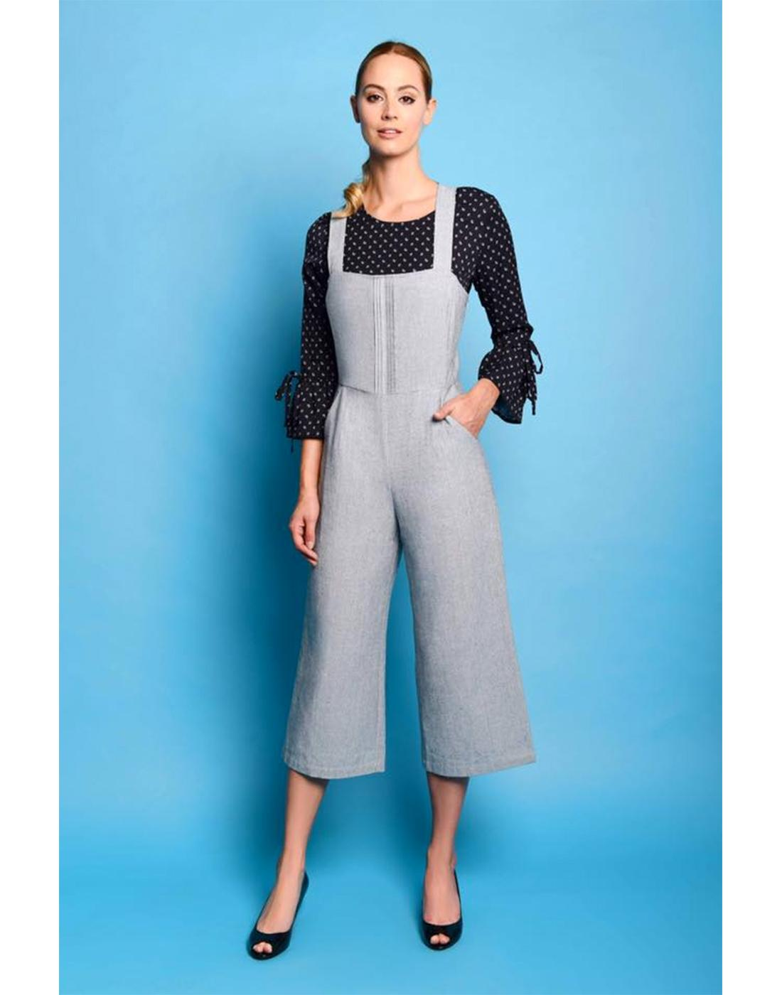 Juno FEVER Retro Summer Linen Cropped Jumpsuit