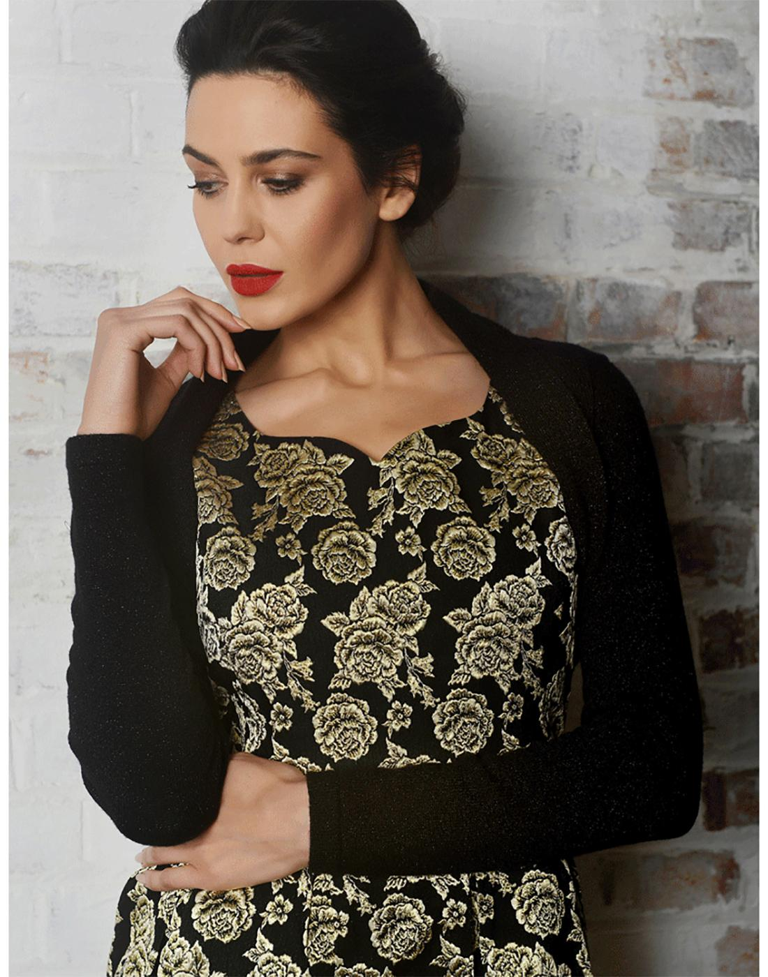Amy FEVER Vintage Knitted Bolero Cardigan in Black