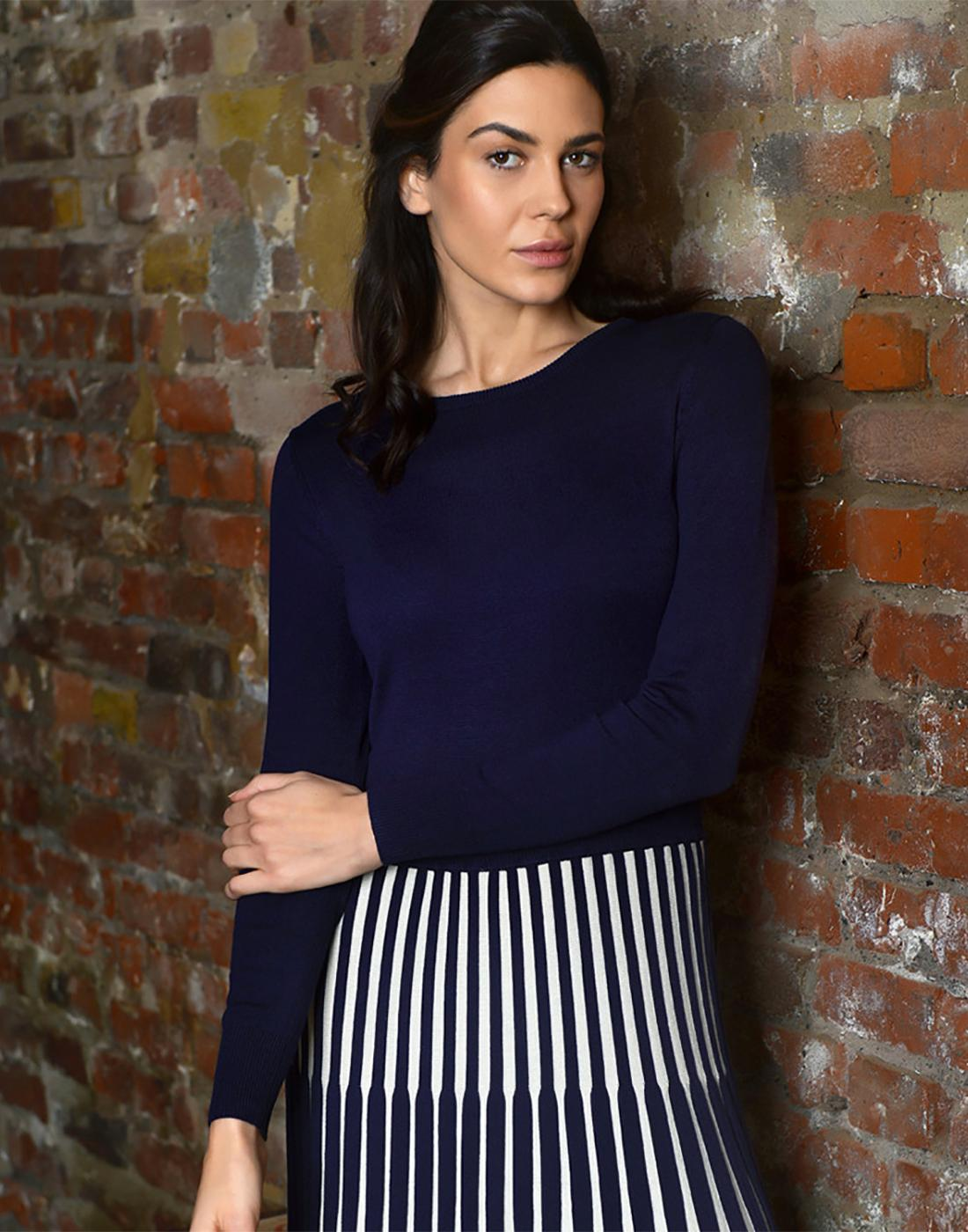 Lewes FEVER Retro Vintage Knitted Dress in Navy