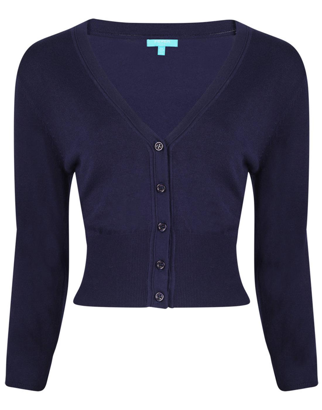 Mariel FEVER Retro Vintage Cropped Cardigan Navy