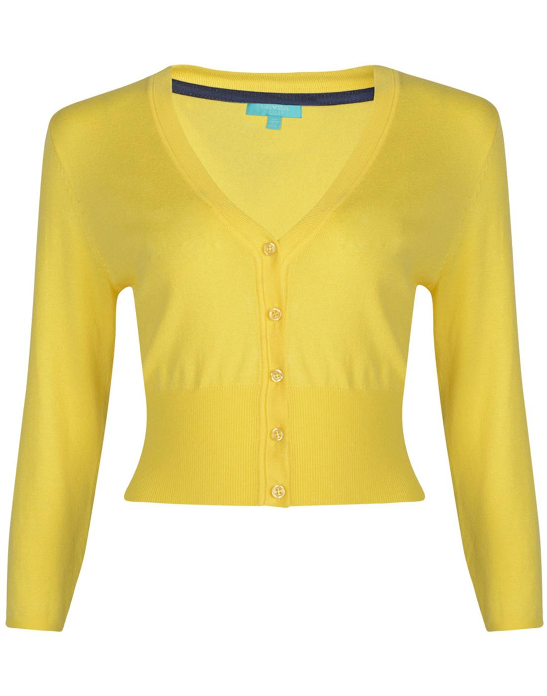 Mariel FEVER Retro Vintage Cropped Cardigan Yellow
