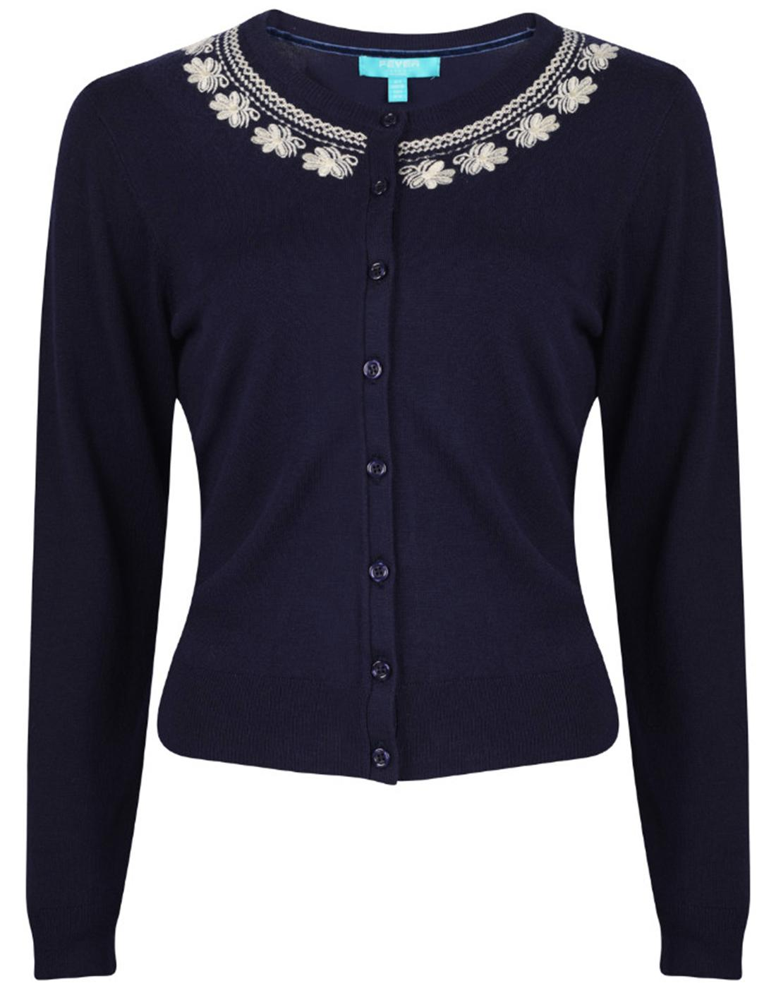 Ingrid FEVER Retro Vintage Embroidered Cardigan