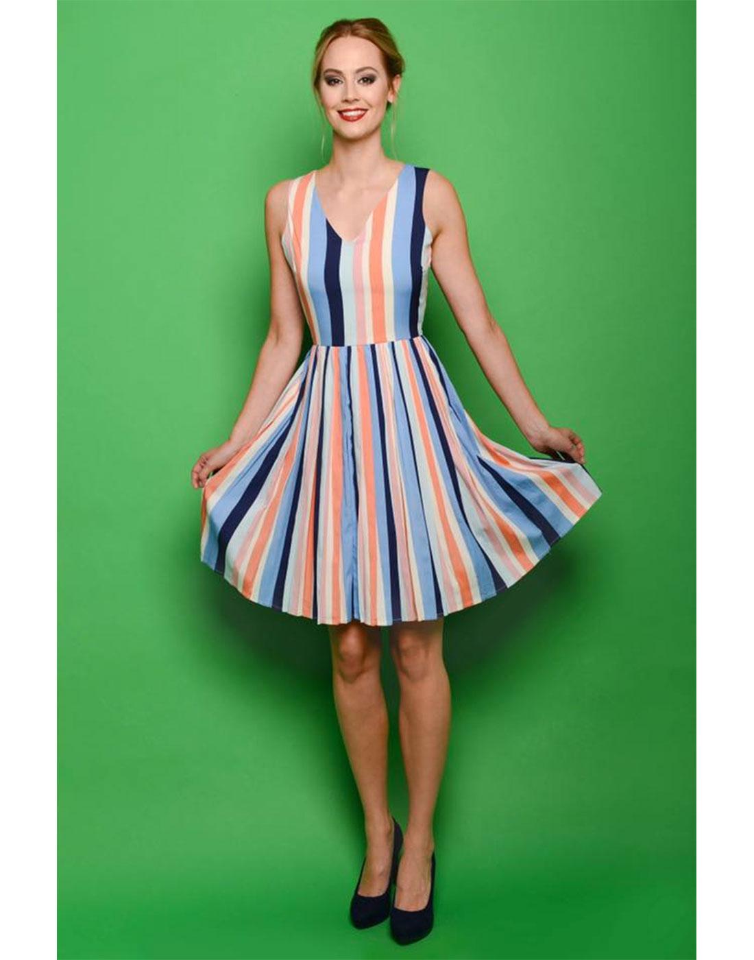 FEVER Retro 1950s Vintage Multi Striped Prom Dress
