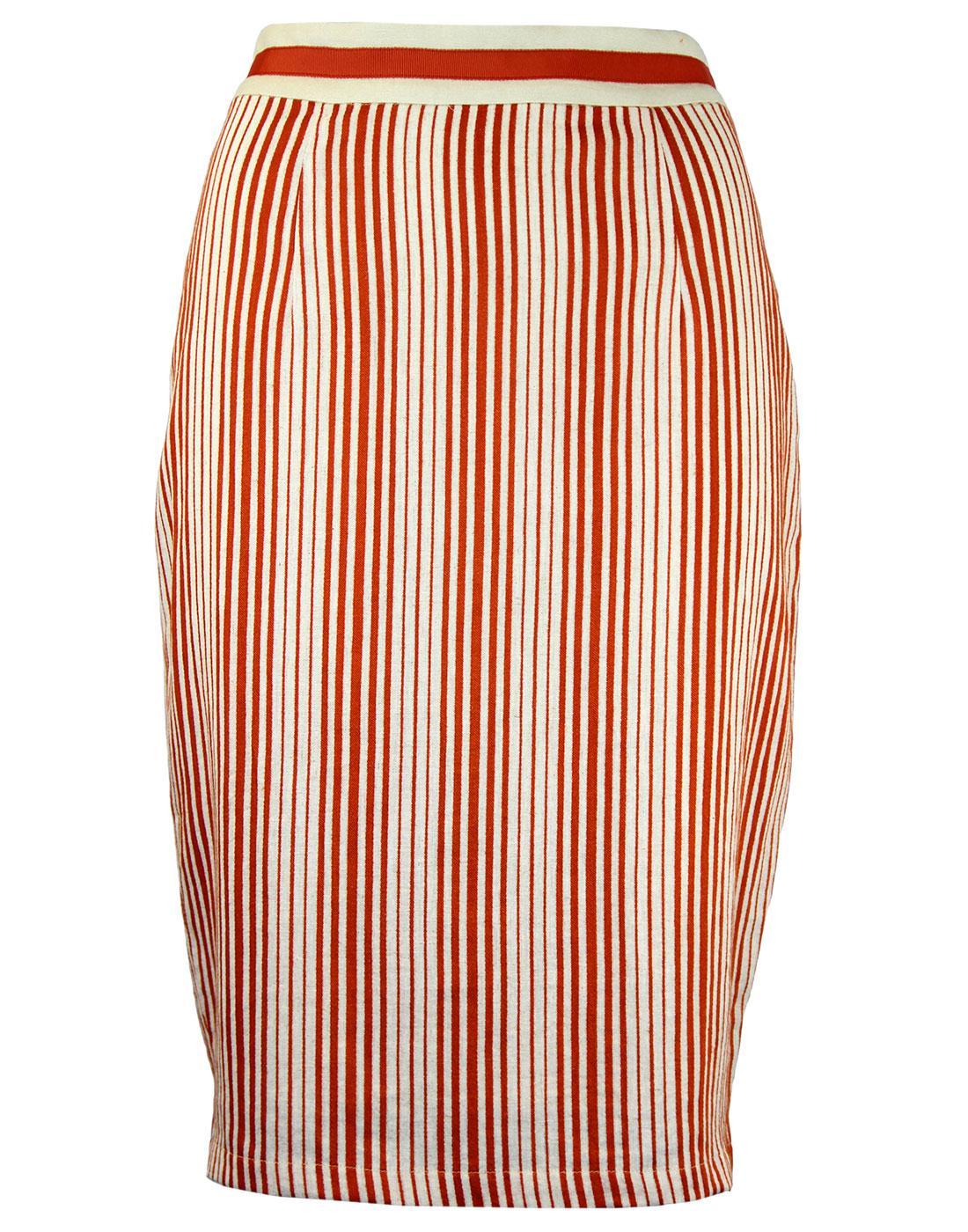 Barbican FEVER Retro 50s Linen Stripe Pencil Skirt