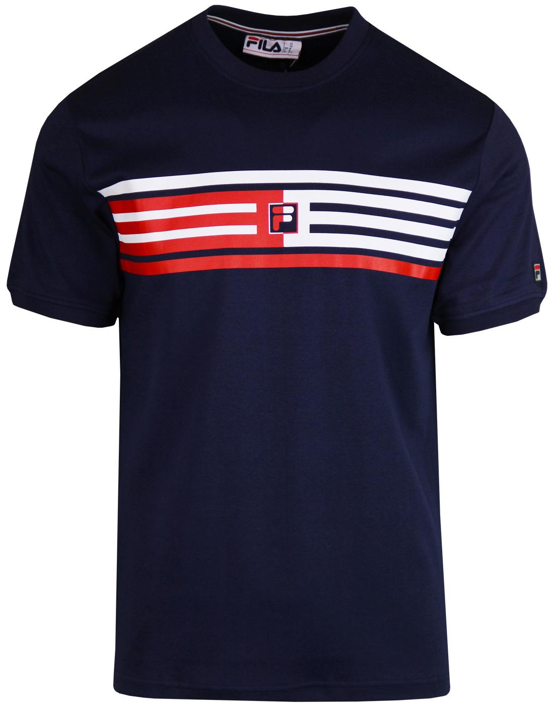 Bruno FILA VINTAGE Retro 80s F Box Stripe T-Shirt