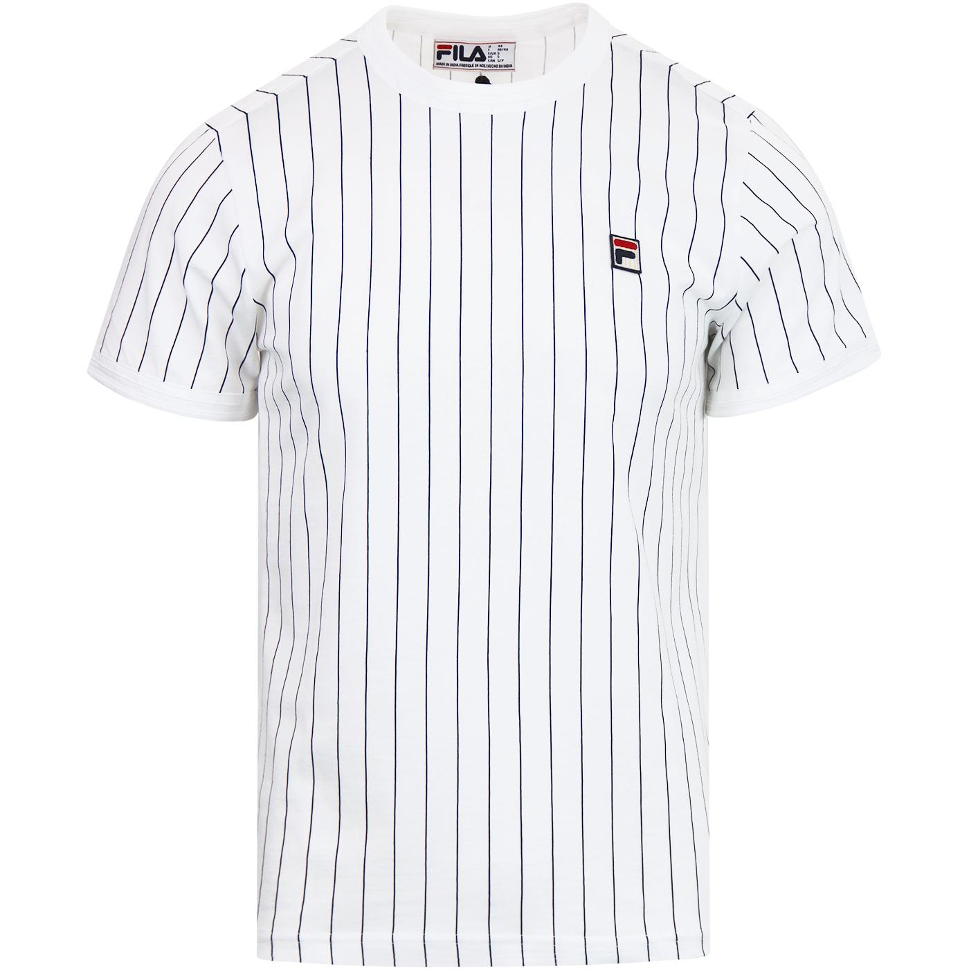 Guilo FILA VINTAGE Men's Retro Pinstripe Tee WHITE