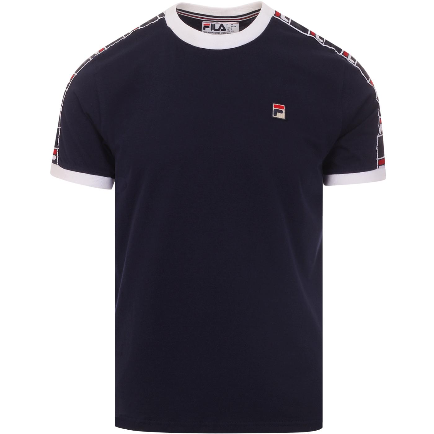 Luca FILA VINTAGE Taped Sleeve Ringer T-shirt NAVY