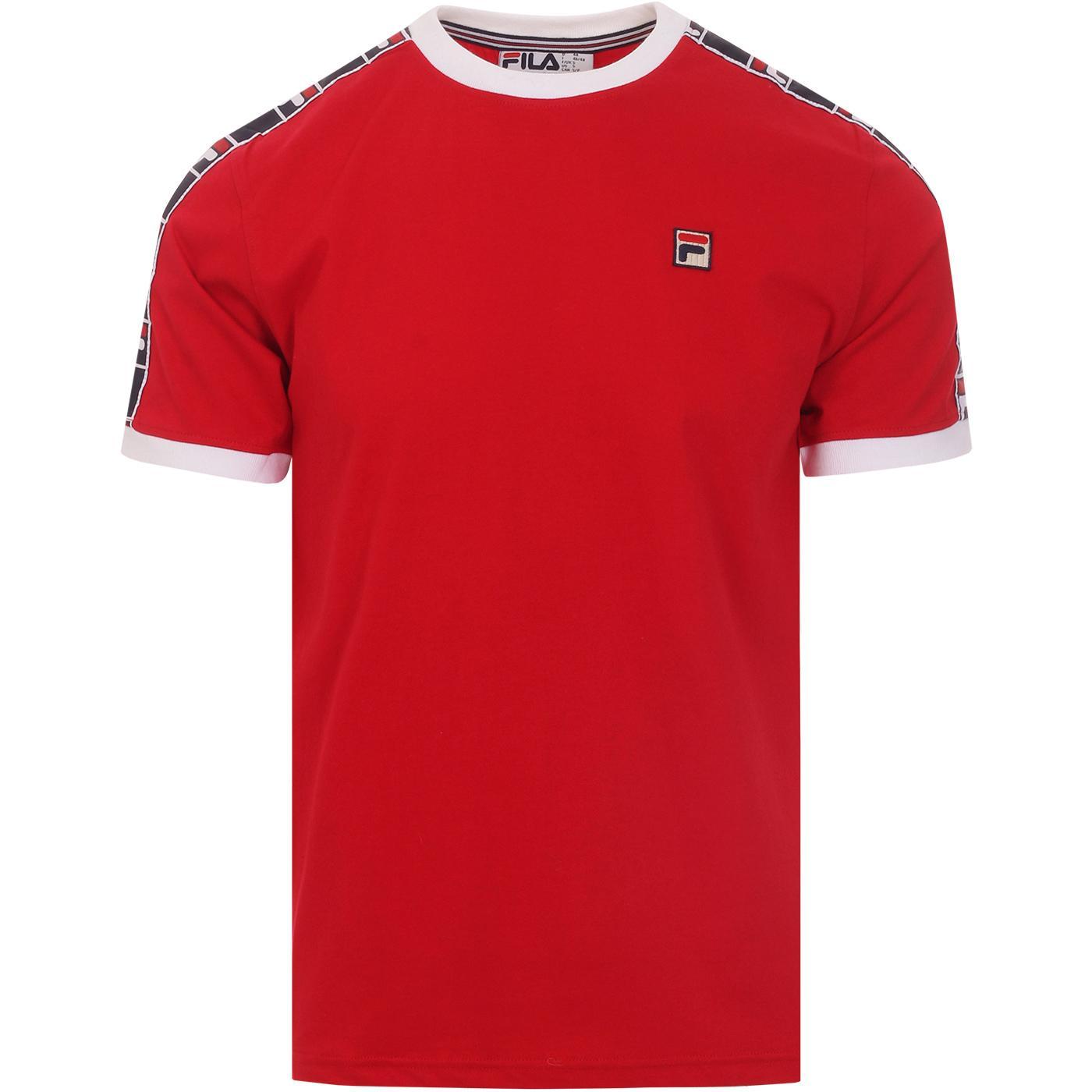 Luca FILA VINTAGE Taped Sleeve Ringer T-shirt RED