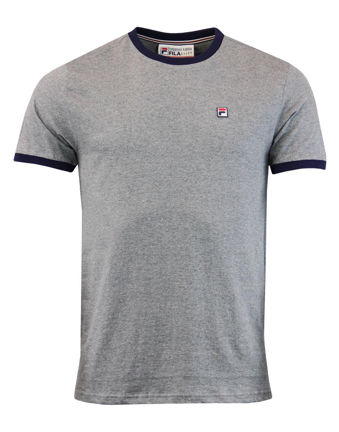 Marconi FILA VINTAGE Retro Mod Ringer T-Shirt GREY