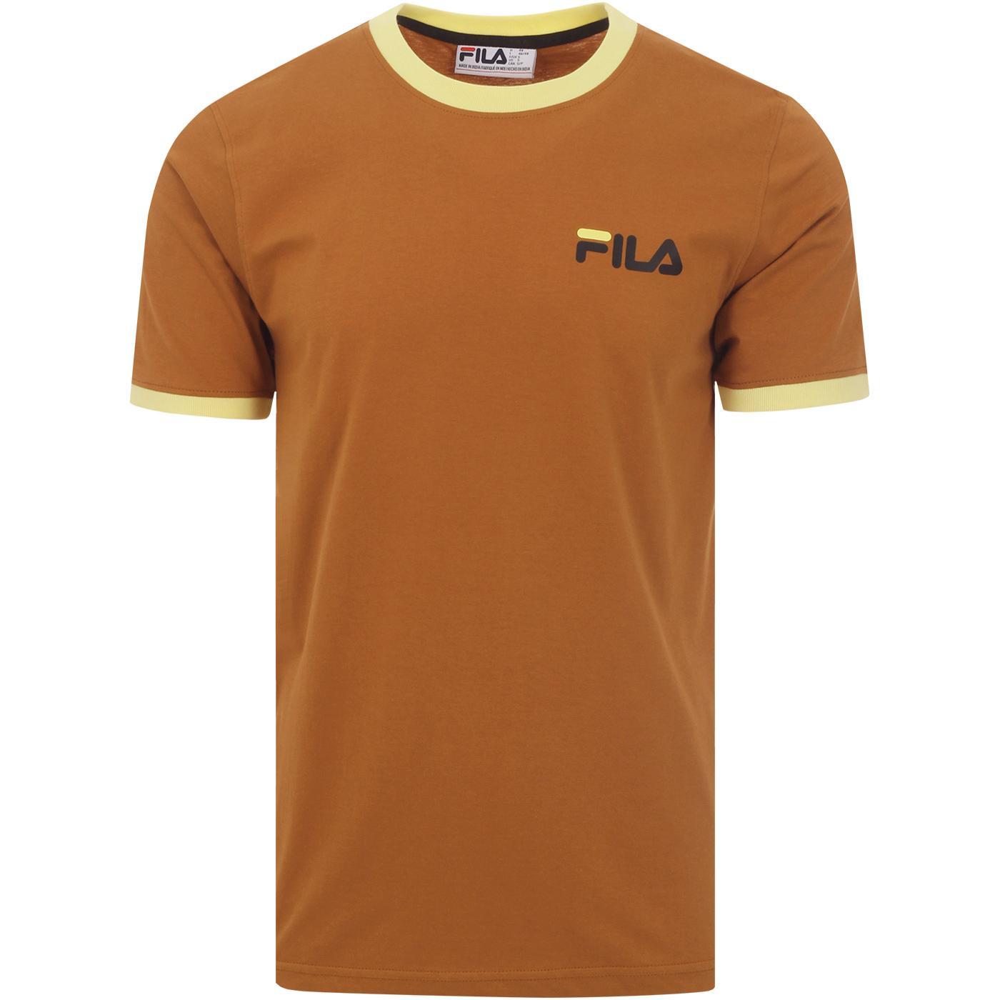 Roscoe FILA VINTAGE Retro 90s Ringer T-shirt BRAN