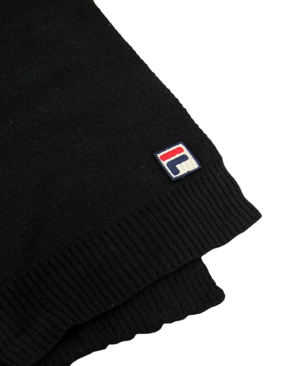 0bb1fdf4 FILA VINTAGE Righi Retro 1980s Ribbed End Knitted Scarf in Black
