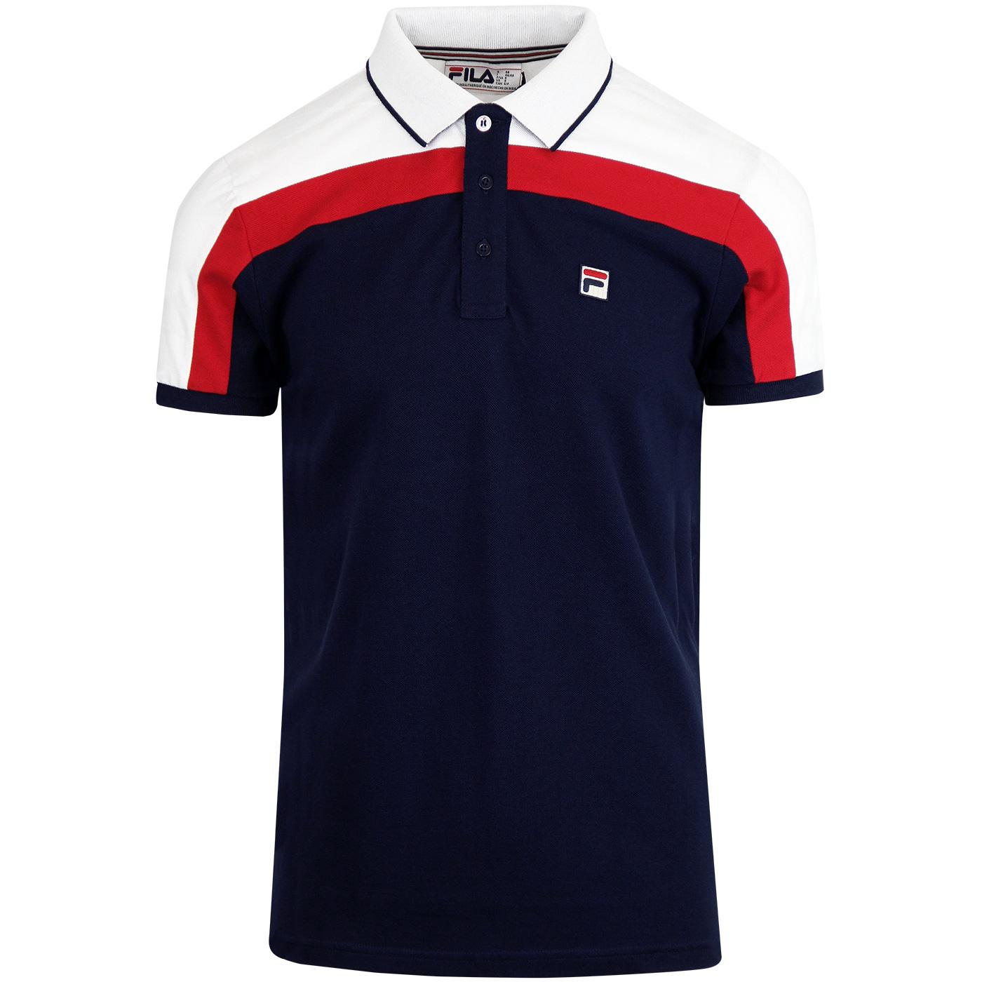e331a665 Spencer FILA VINTAGE Retro 70s Mens Polo Shirt in Navy