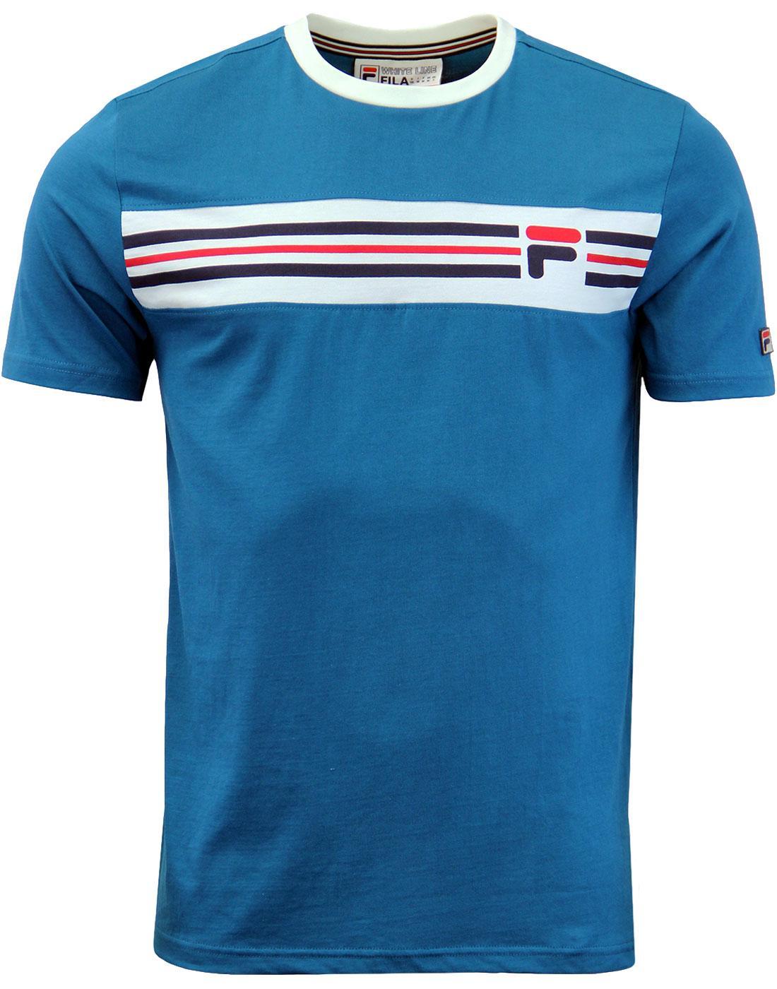 9a1e0b1f9ffe2 FILA VINTAGE Vandorno Retro Indie Ringer T-Shirt in Lyons Blue.