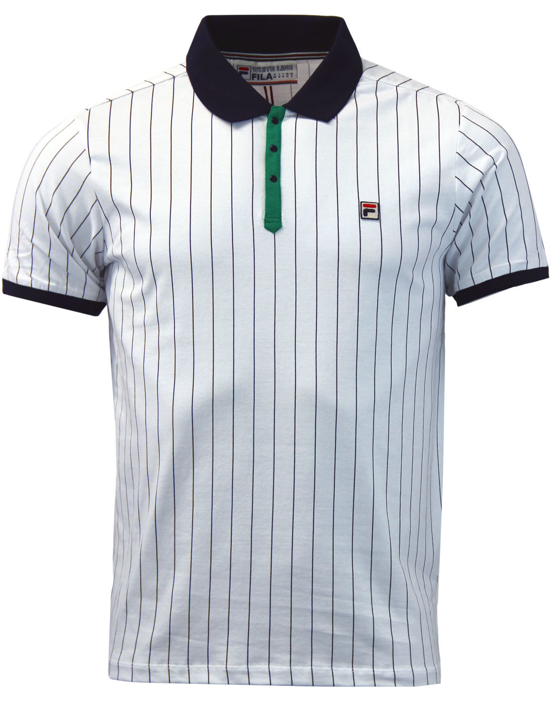 FILA VINTAGE BB1 Men's Retro 70s Indie Borg Tennis Polo in White