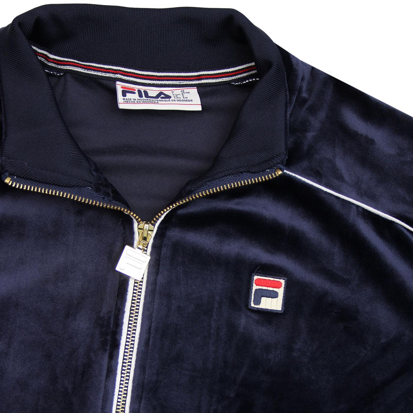 05499e45f2d7 FILA VINTAGE Lineker Retro 80s Velour Track Jacket Peacoat