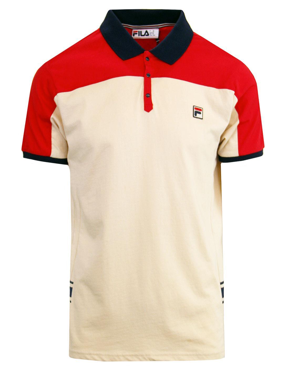 Mivvi FILA VINTAGE Mens Retro 80s Tennis Polo RED