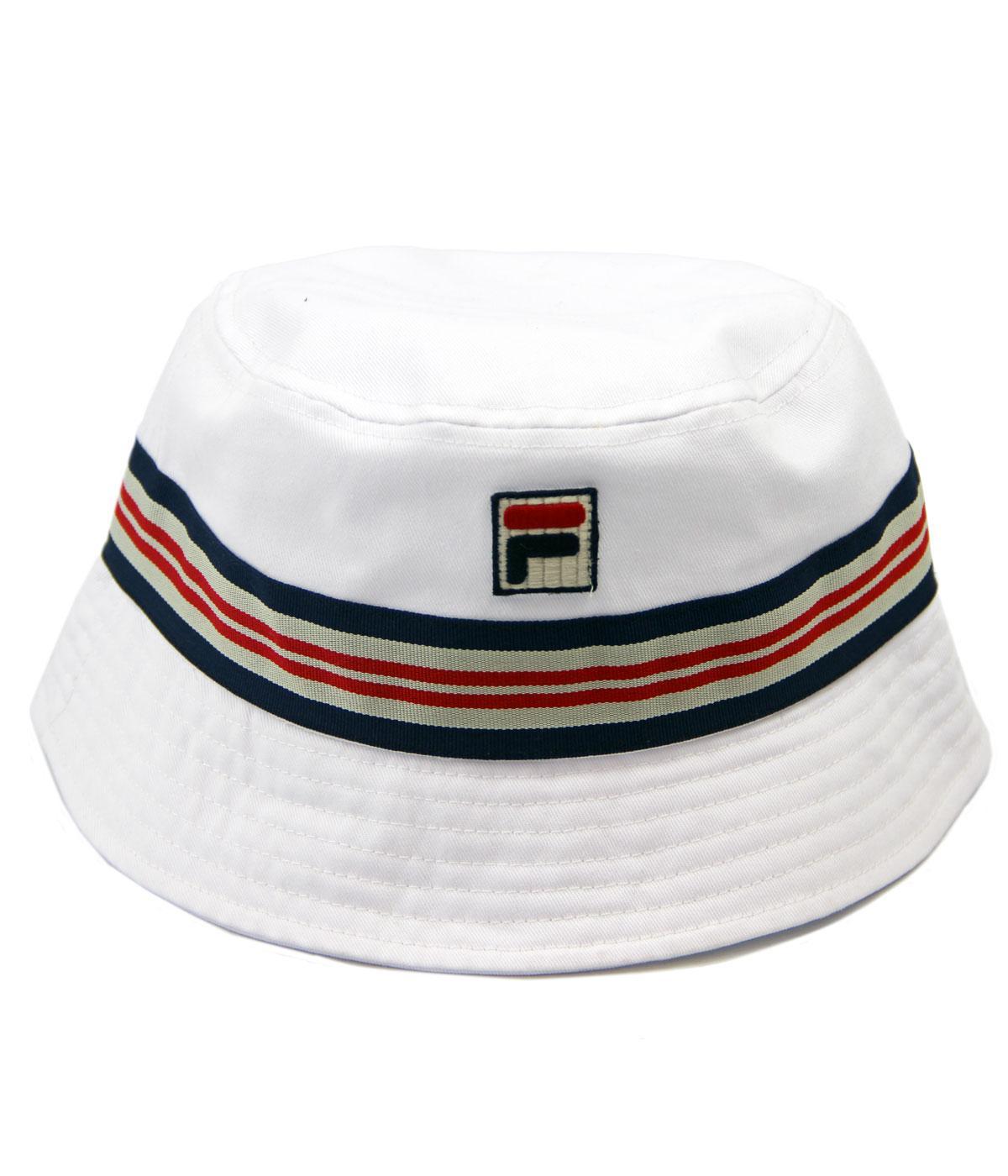 ff2345051b9 FILA VINTAGE Casper Retro Indie Britpop Stripe Bucket Hat White