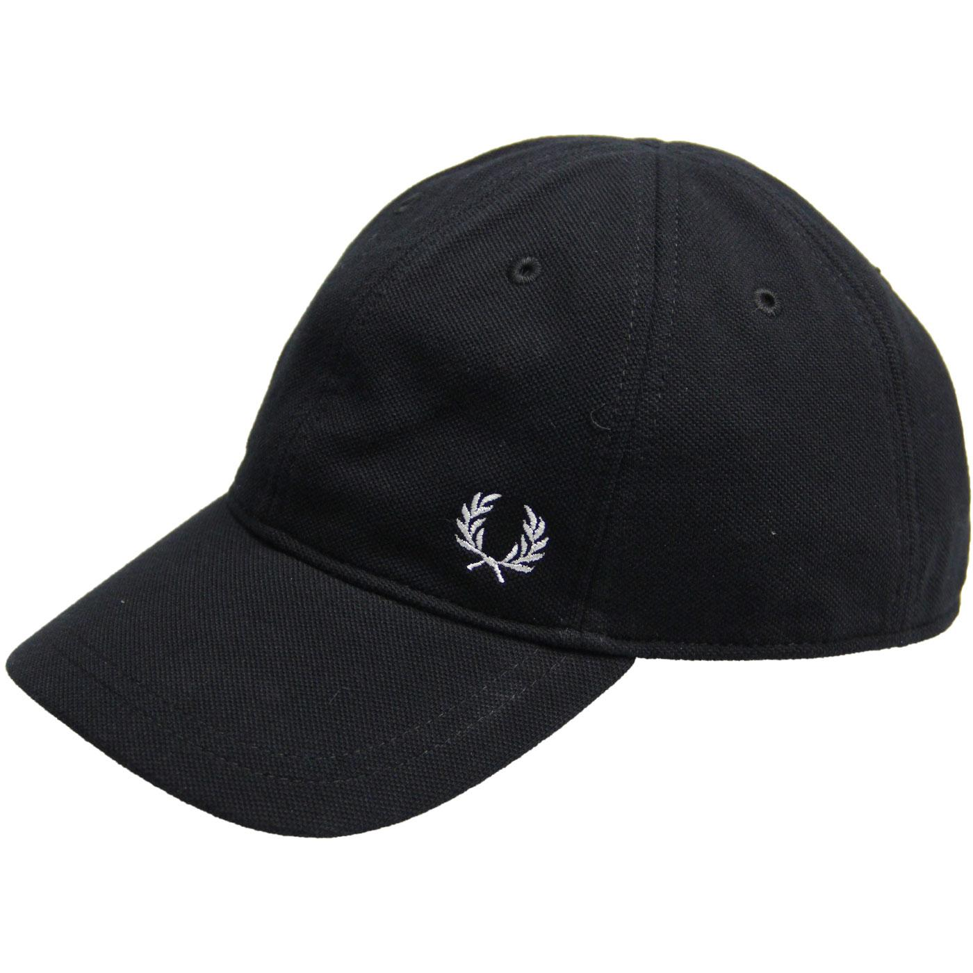 FRED PERRY Men's Retro Pique Baseball Cap (Black)