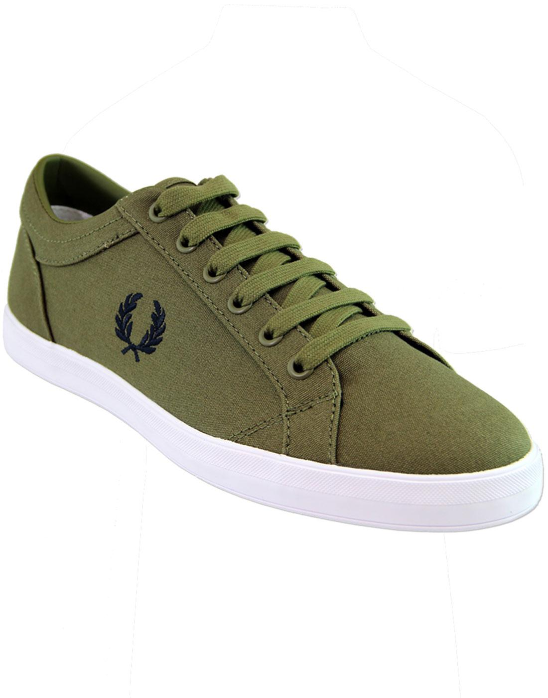 B3114 FRED PERRY BASELINE CANVAS TRAINERS - Olive