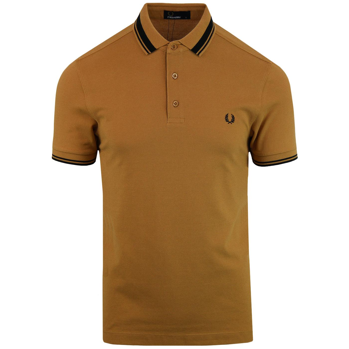 FRED PERRY Mod Contrast Tipped Pique Polo CARAMEL