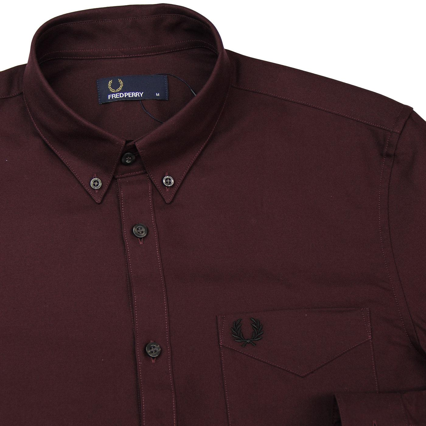853a47e996ab93 FRED PERRY Classic Button Down Oxford Shirt in Mahogany