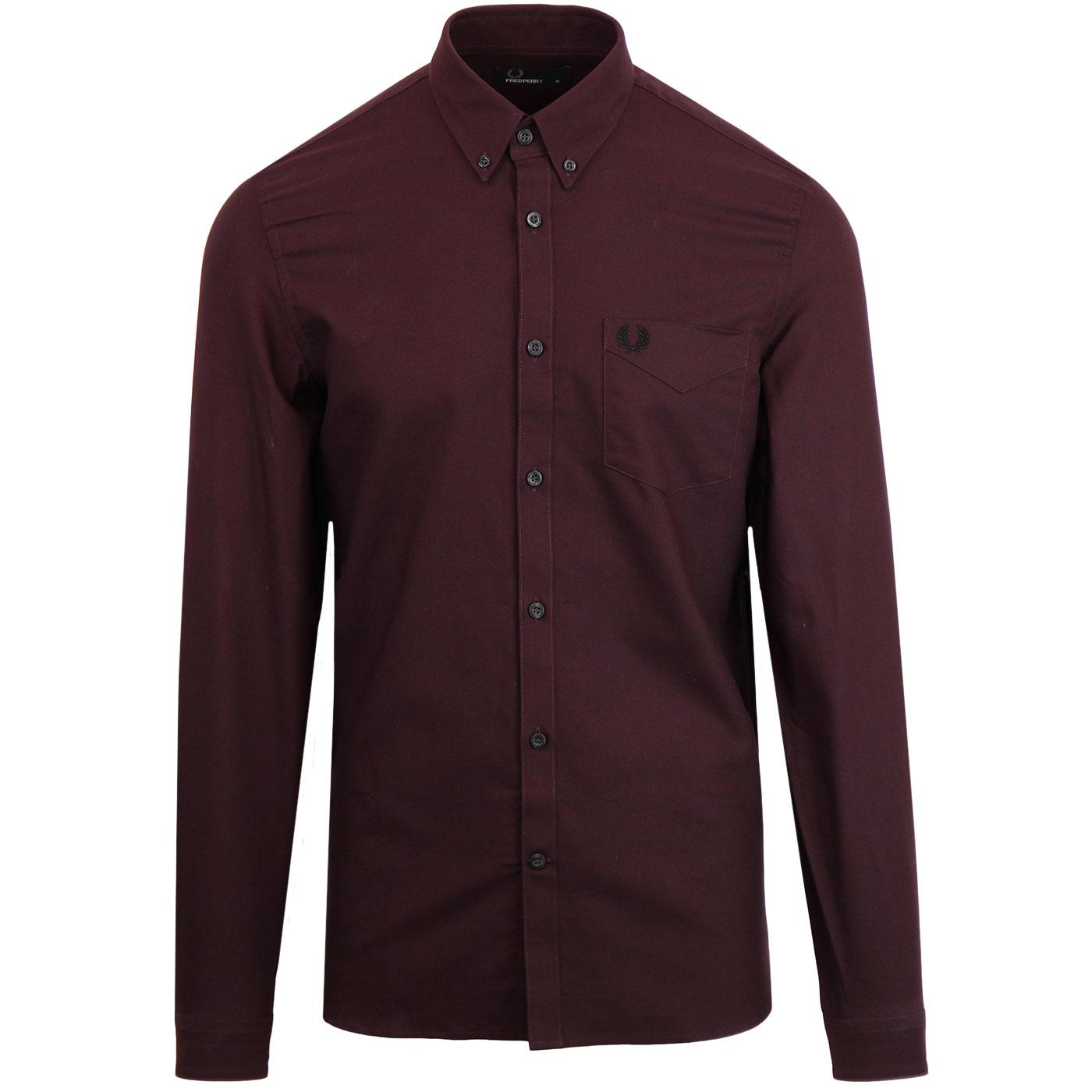 FRED PERRY Men's Classic Mod Oxford Shirt MAHOGANY