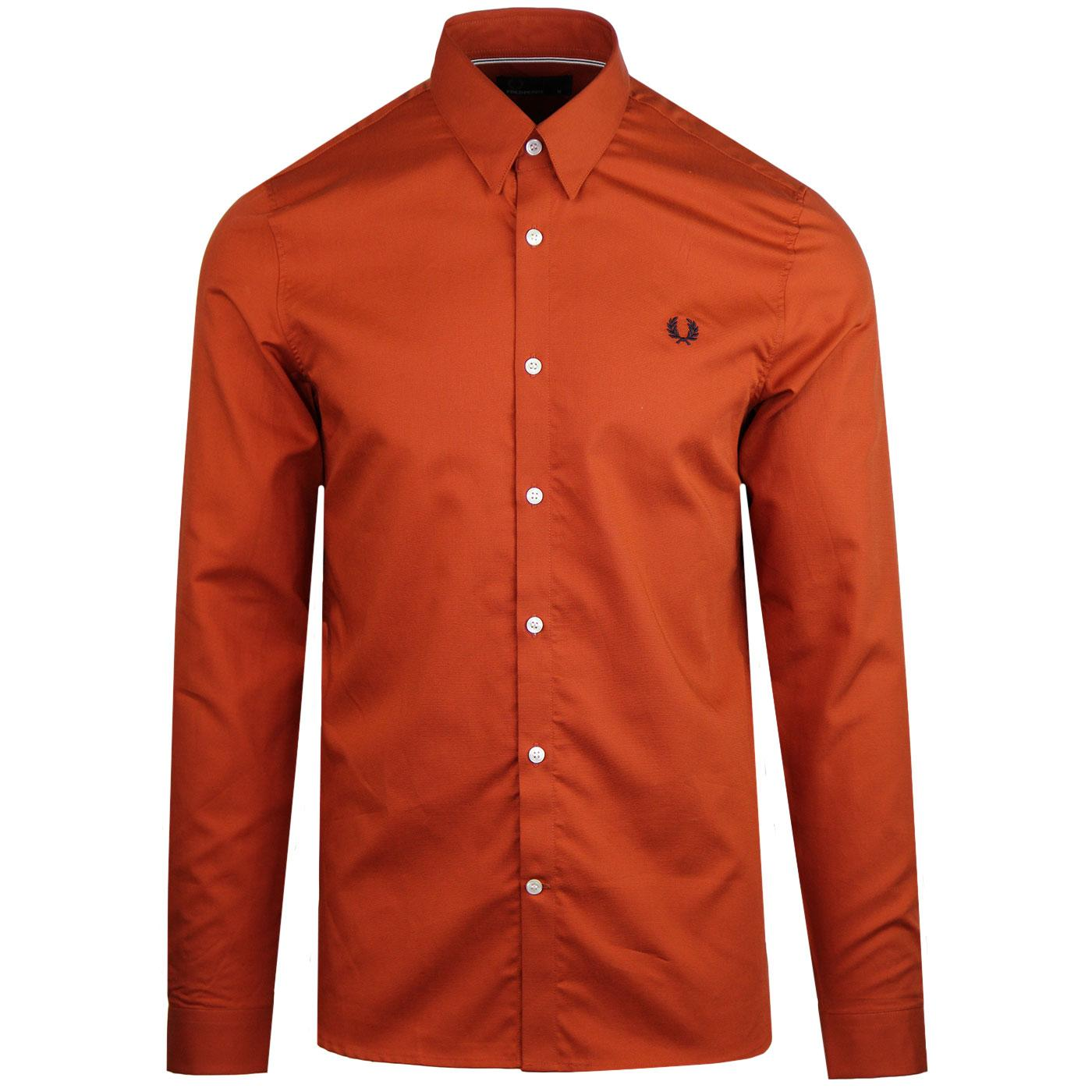 FRED PERRY Men's Mod Button Under Shirt (Paprika)