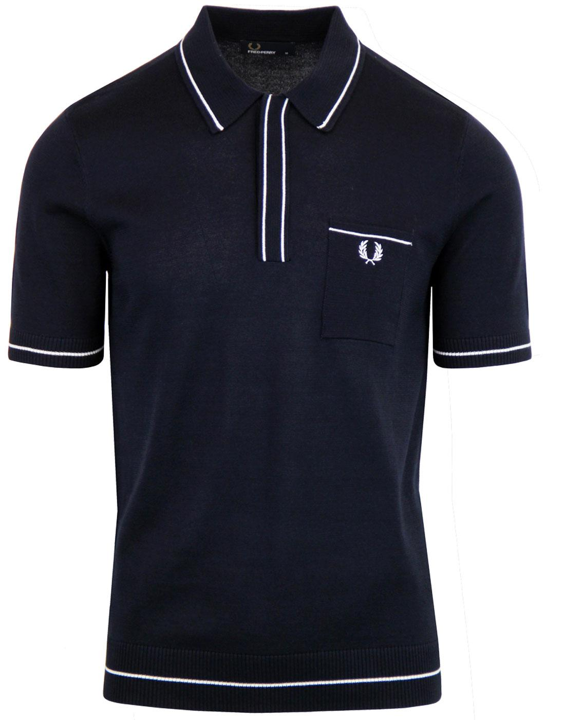 K3512 Fred Perry Fine Tipped Knitted Shirt Navy