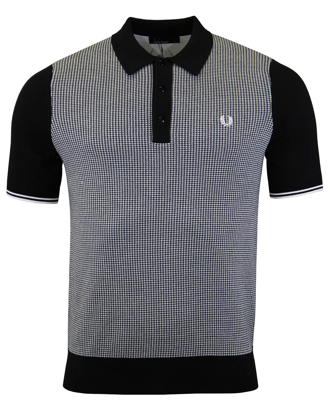 FRED PERRY K2527 Houndstooth Knitted Black