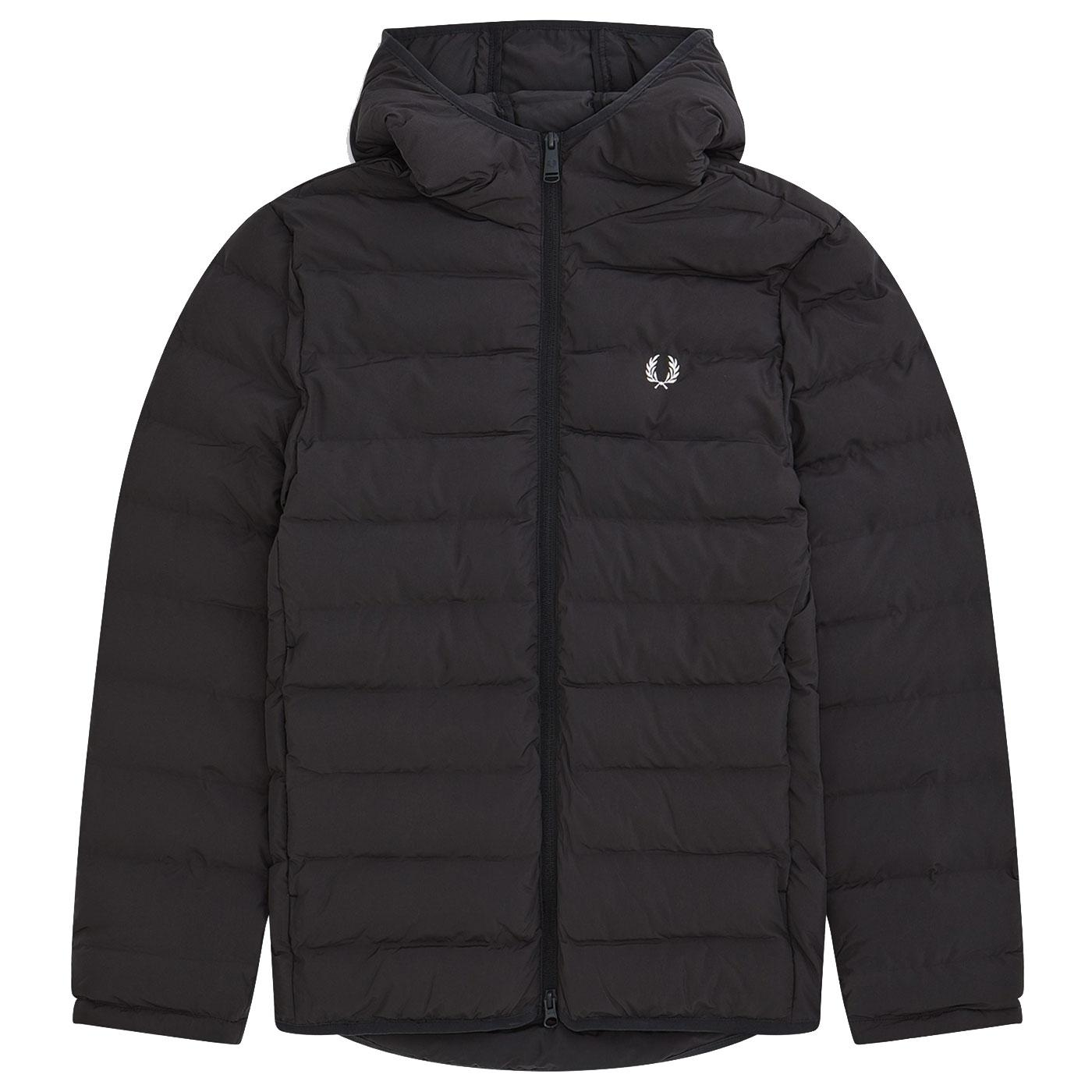 FRED PERRY Insulated Padded Hooded Jacket BLACK