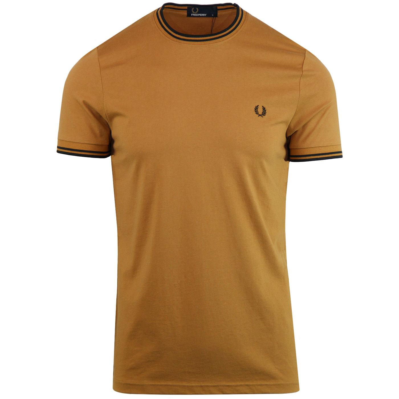 FRED PERRY Retro Twin Tipped Crew T-shirt CARAMEL