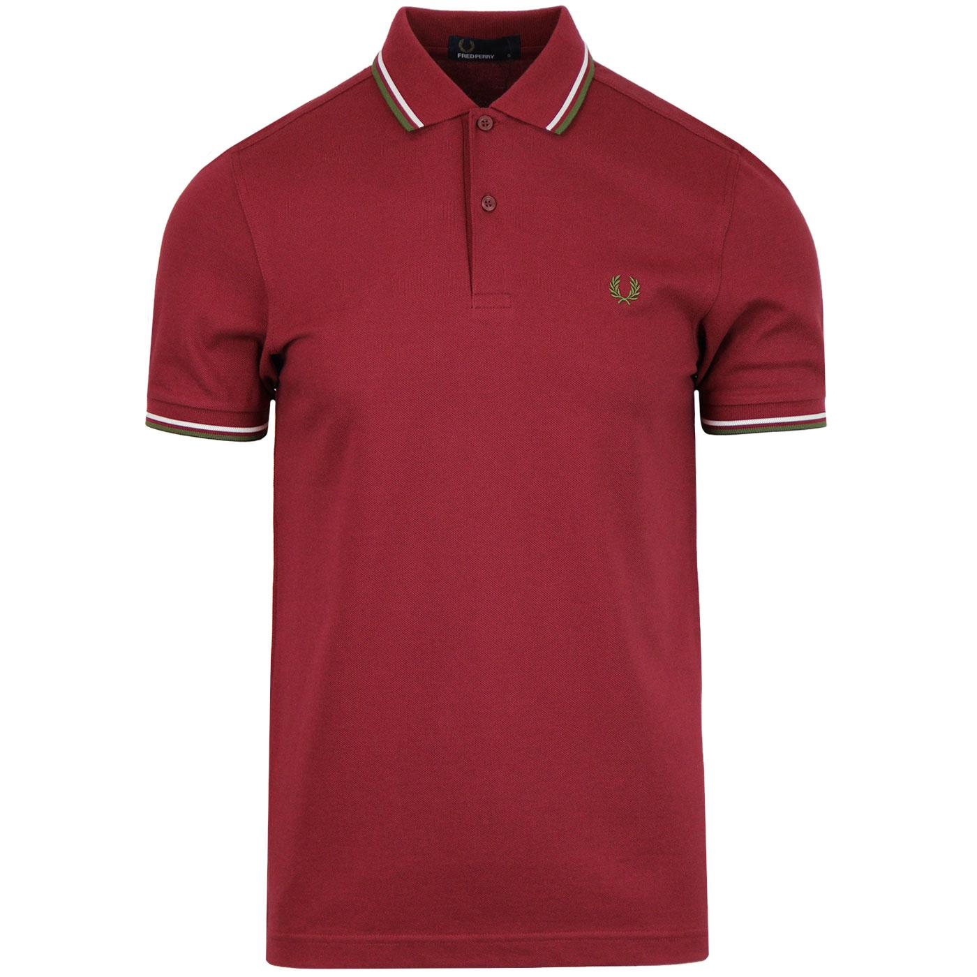 FRED PERRY M3600 Men's Twin Tipped Polo MAROON