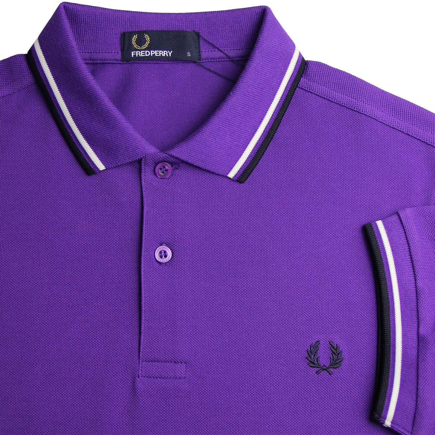 7650ce3dc FRED PERRY M3600 Retro Mod Twin Tipped Polo Shirt Purple