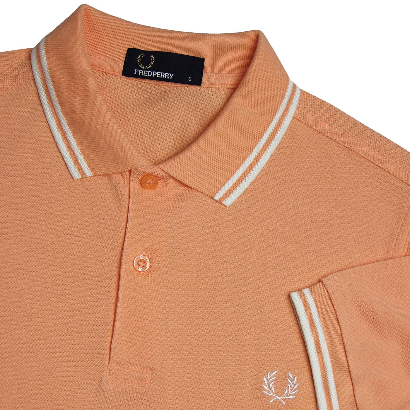 0734ae22 FRED PERRY M3600 Mod Twin Tipped Polo Shirt in Nectar