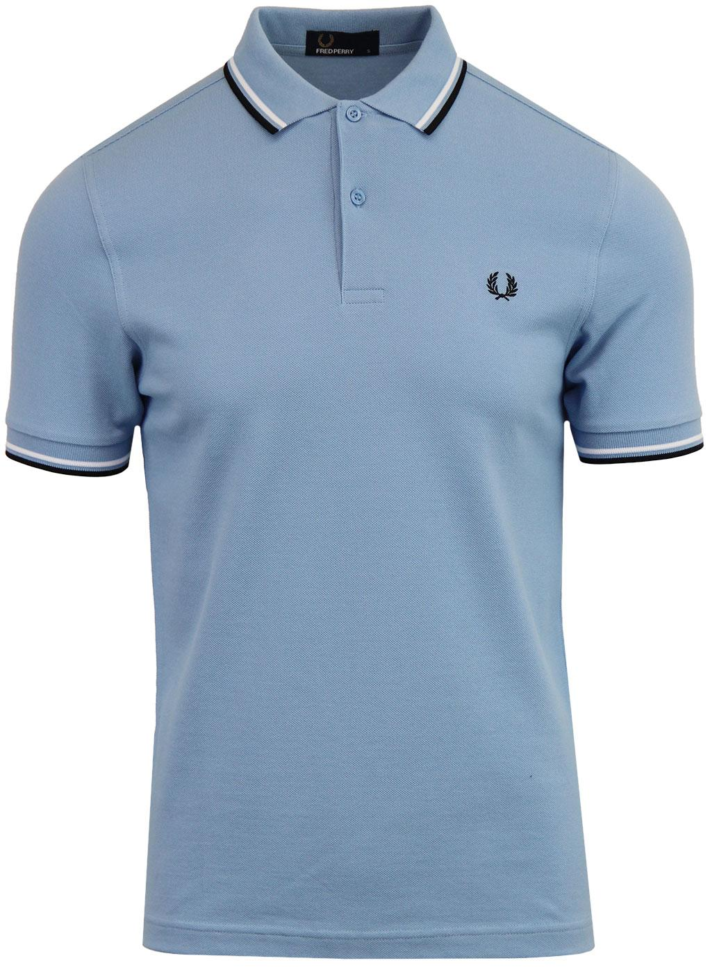 FRED PERRY M3600 Men's Twin Tipped Polo Top SKY