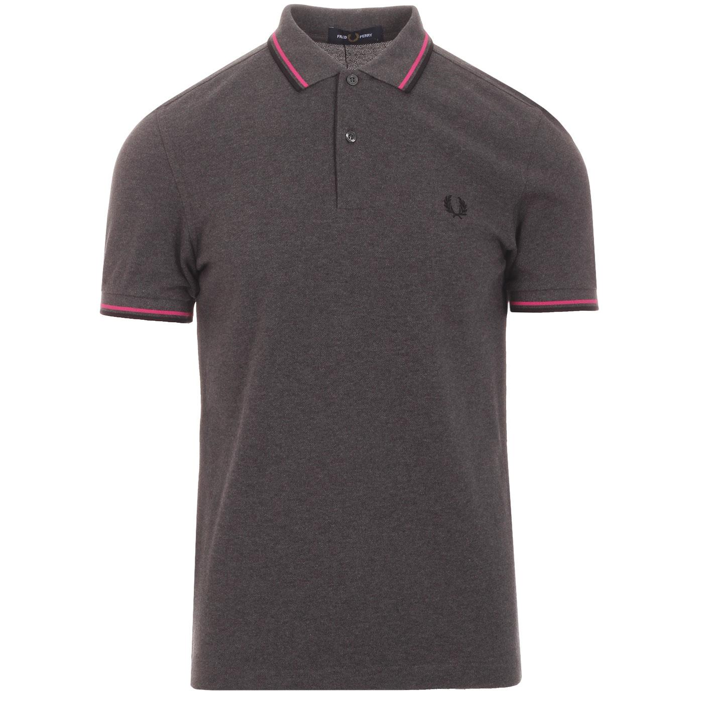 FRED PERRY M3600 Twin Tipped Mod Polo GRAPHITE
