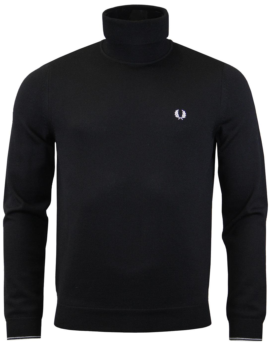 FRED PERRY K2503 Black Merino Roll Neck