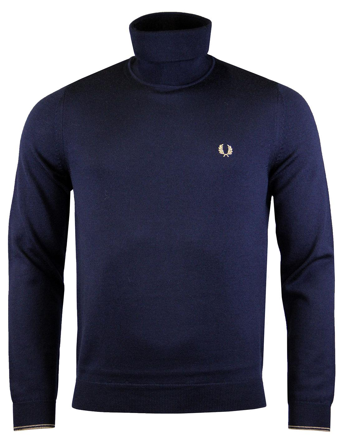 FRED PERRY K2503 Merino Roll Neck Dk Carbon