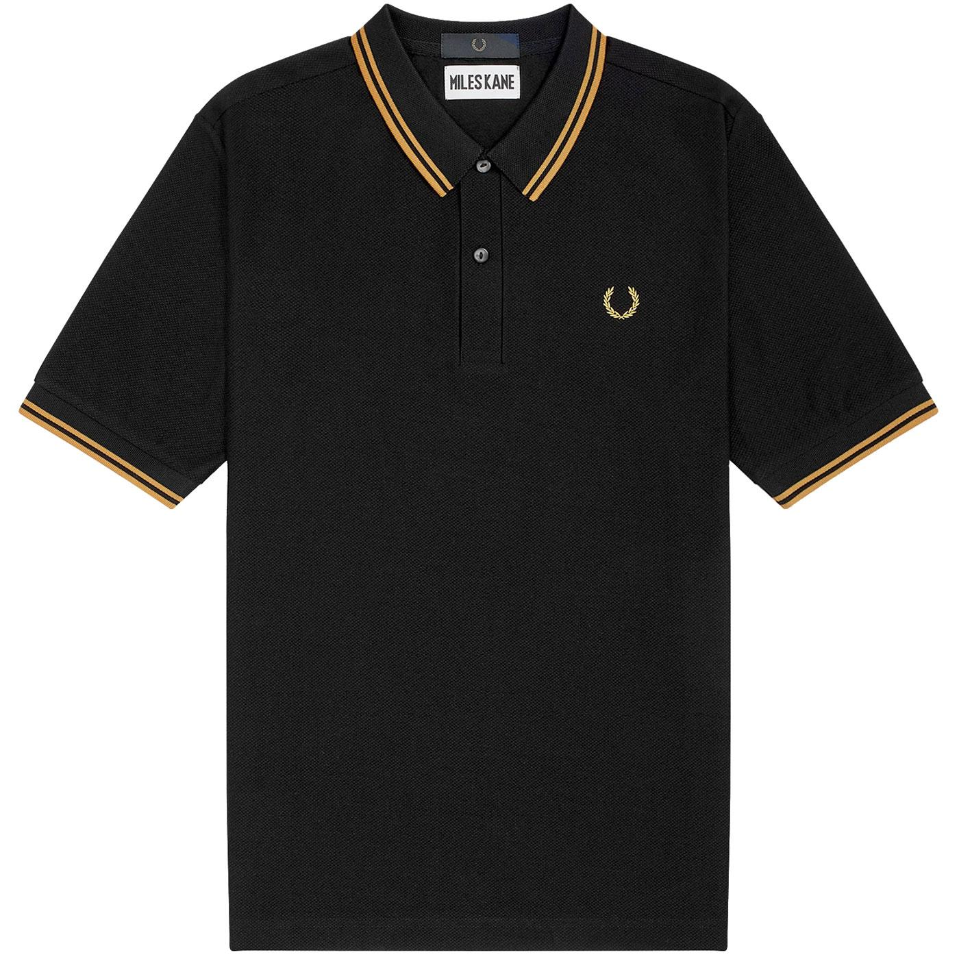 FRED PERRY X MILES KANE Twin Tipped Polo BLACK