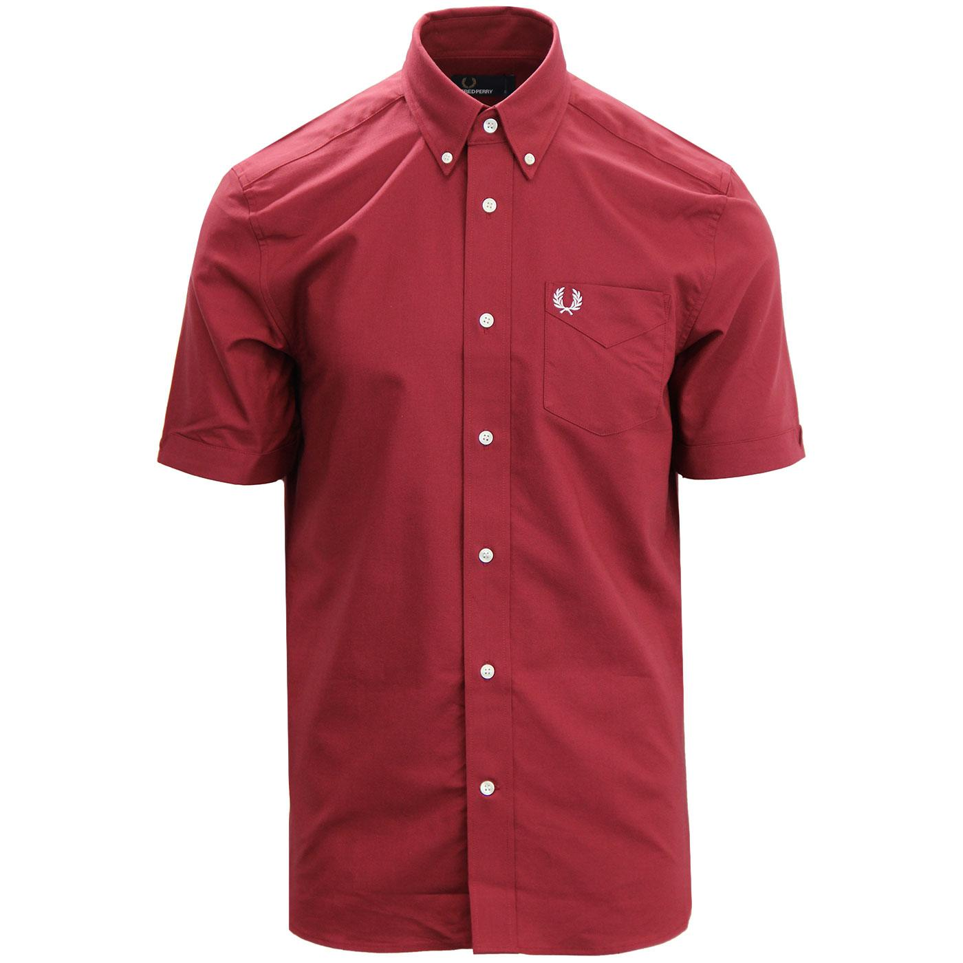 FRED PERRY Retro Mod Classic Oxford Shirt MAROON