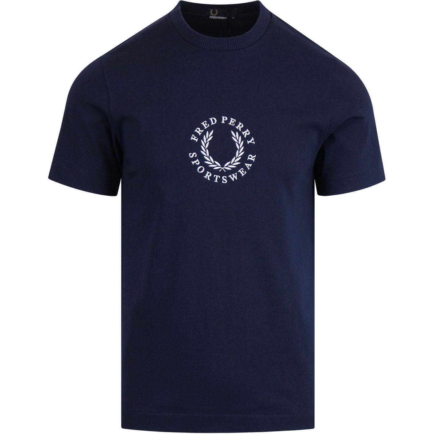 FRED PERRY Retro Circular Logo Embroidered T-Shirt