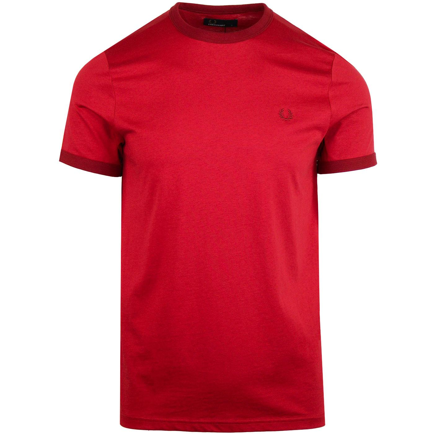 FRED PERRY Retro Mod Crew Neck Ringer T-shirt RED