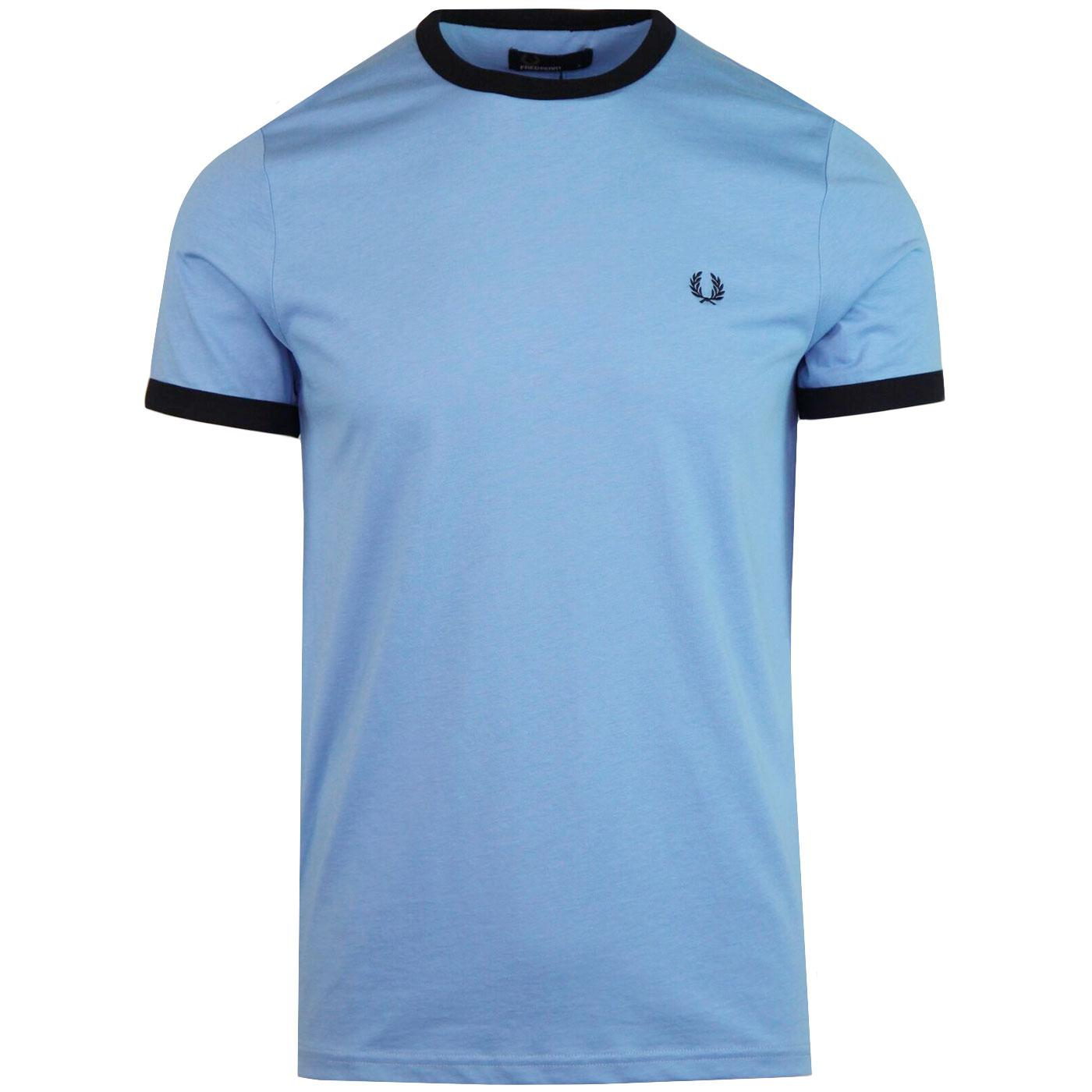 FRED PERRY Retro Mod Crew Neck Ringer T-shirt SKY